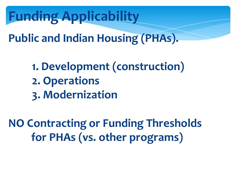 Funding Applicability