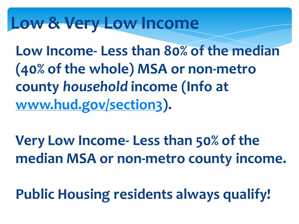Low & Very Low Income