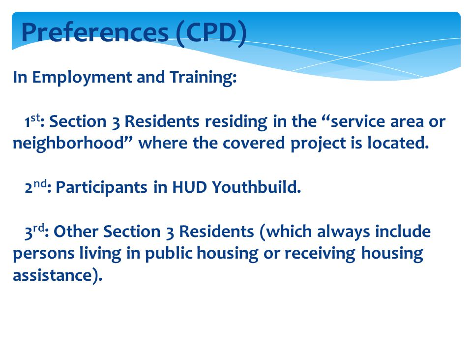 Preferences (CPD) In Employment and Training: