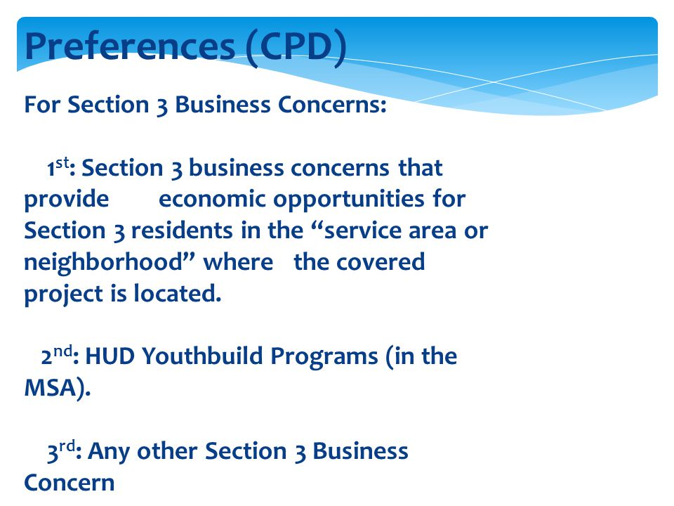 Preferences (CPD) For Section 3 Business Concerns: