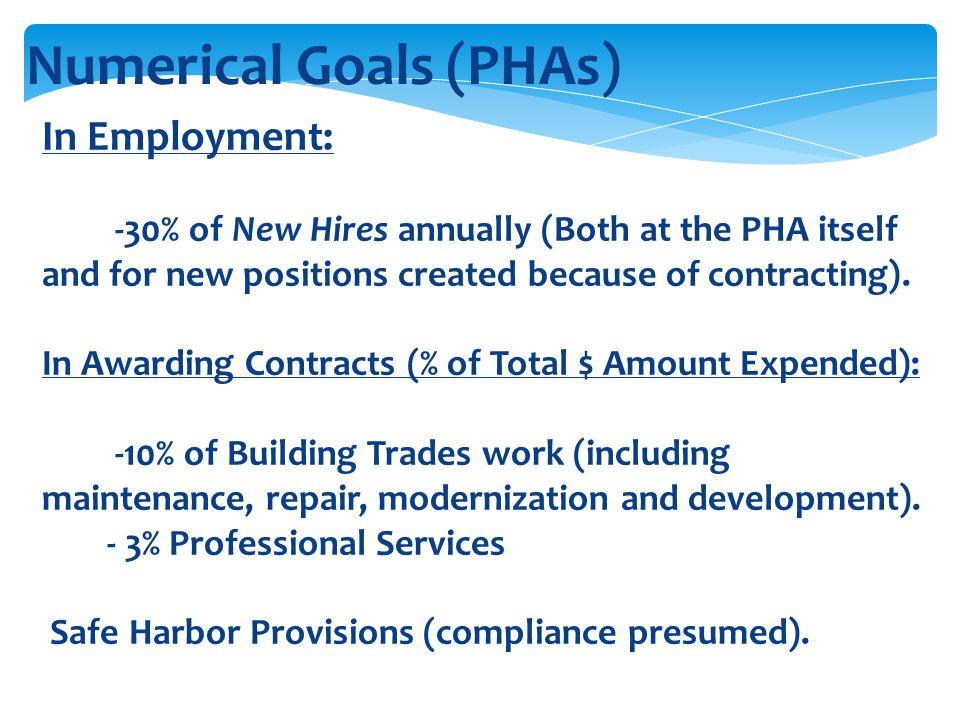 Numerical Goals (PHAs)