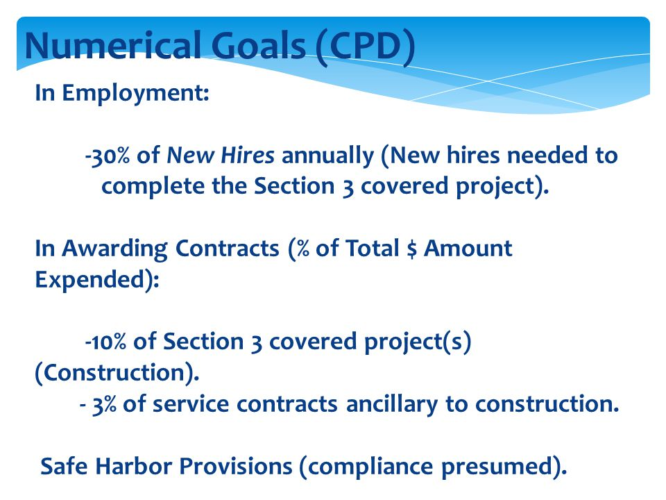 Numerical Goals (CPD) In Employment: