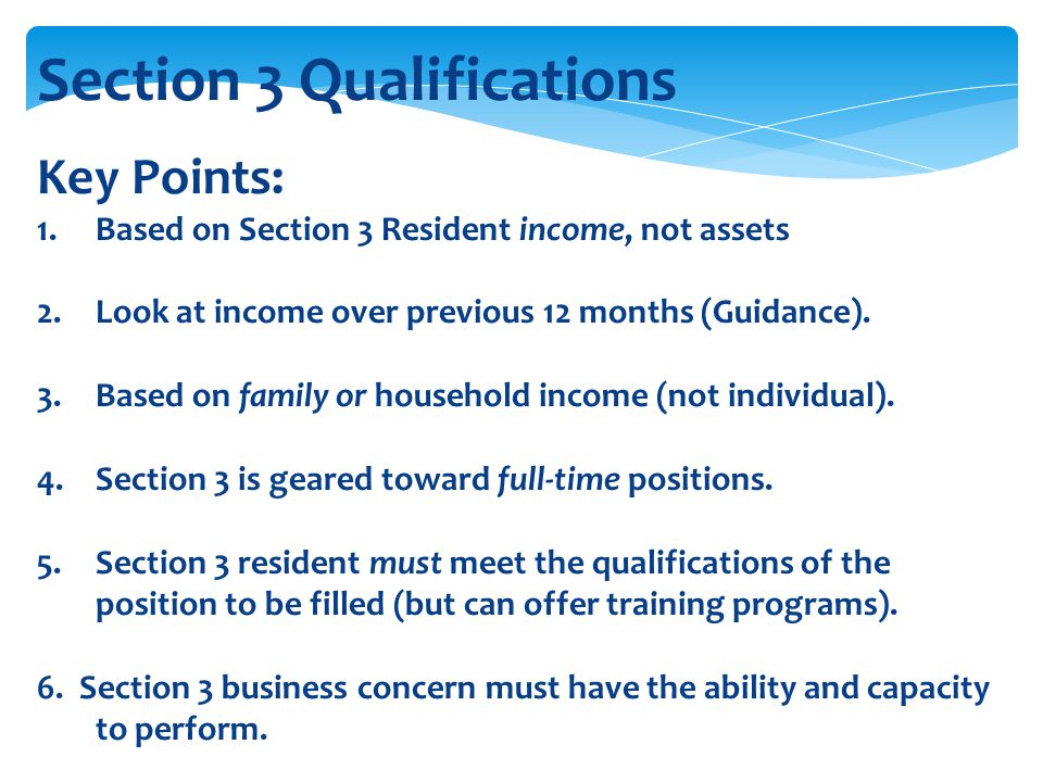 Section 3 Qualifications