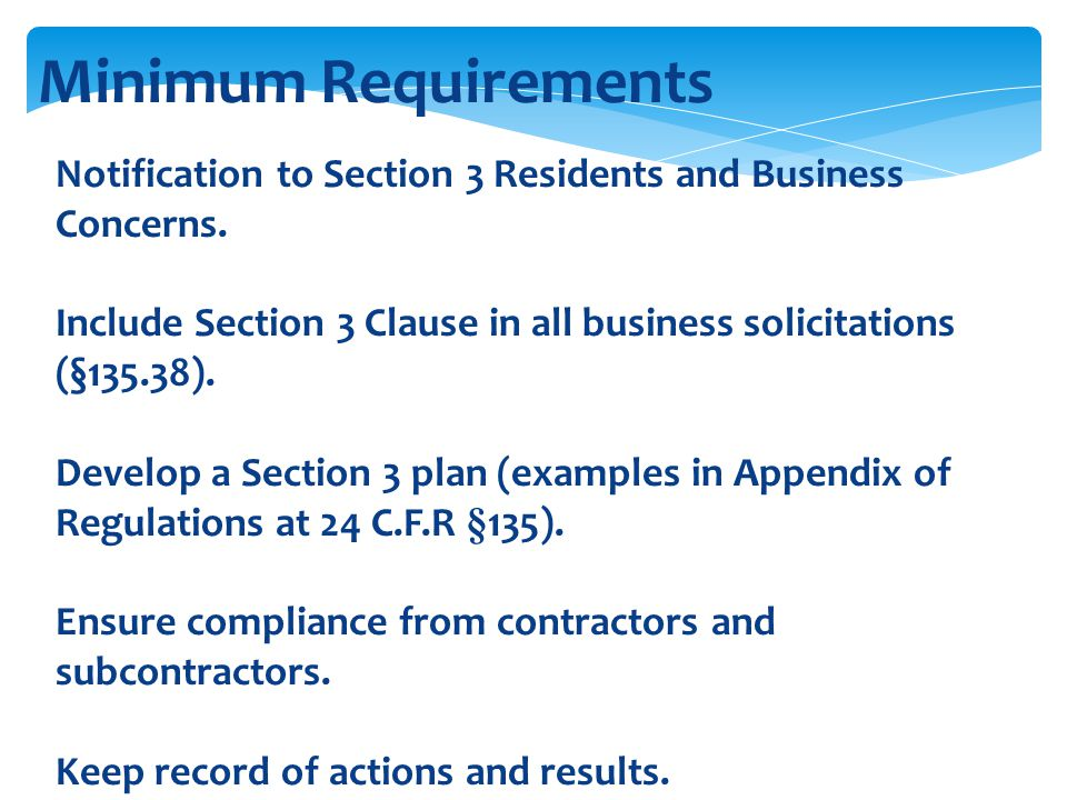 Minimum Requirements Notification to Section 3 Residents and Business Concerns.