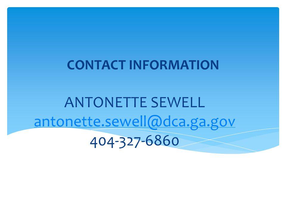 ANTONETTE SEWELL antonette.sewell@dca.ga.gov 404-327-6860