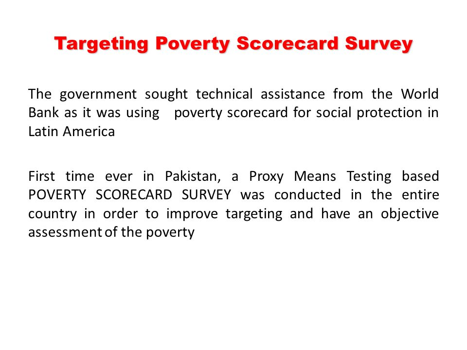 Targeting Poverty Scorecard Survey
