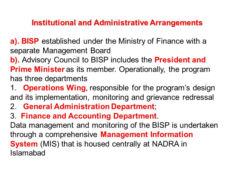 Institutional and Administrative Arrangements a)