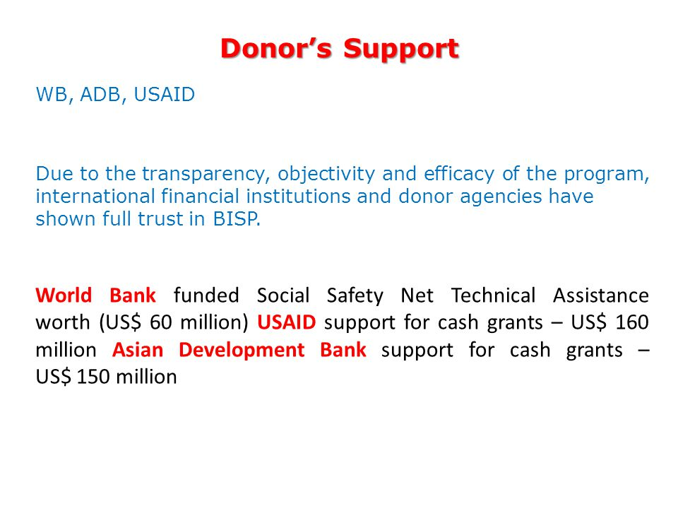Donor's Support