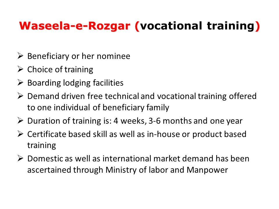 Waseela-e-Rozgar (vocational training)