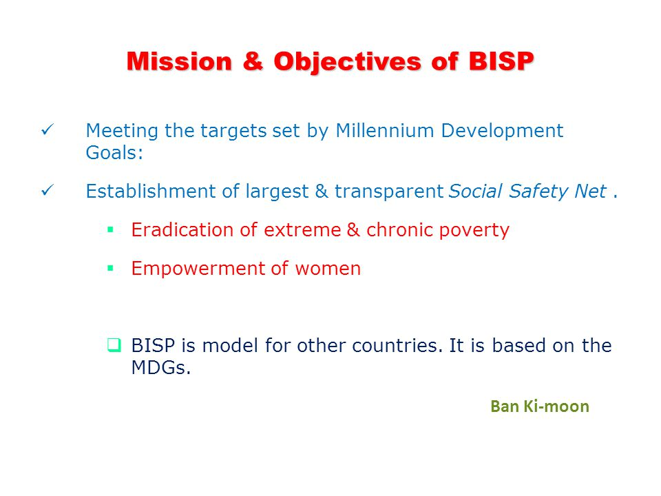 Mission & Objectives of BISP