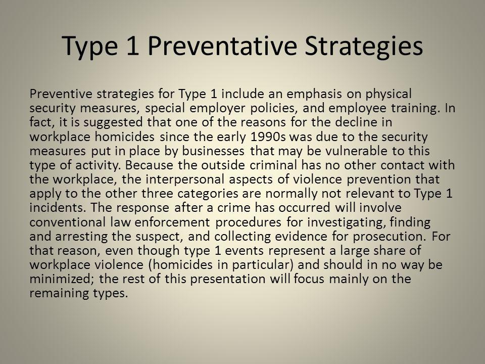 Type 1 Preventative Strategies