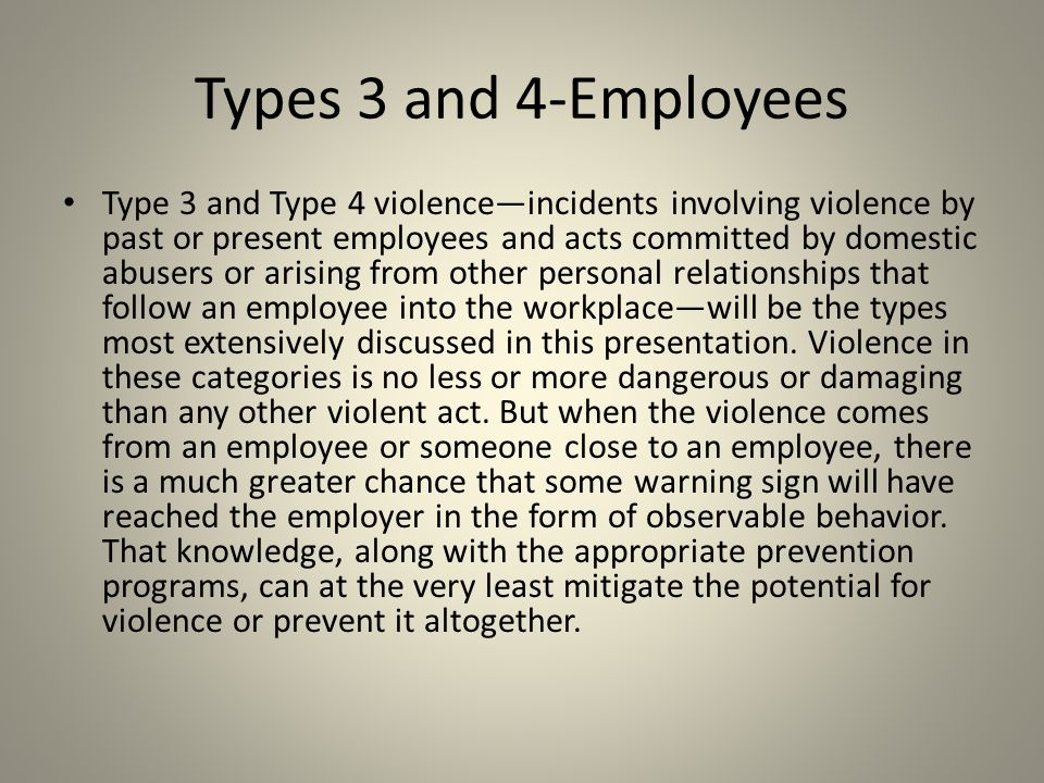 Types 3 and 4-Employees