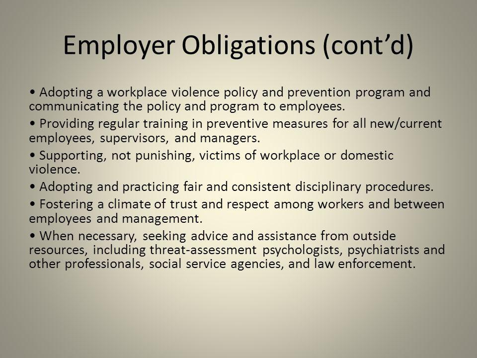 Employer Obligations (cont'd)