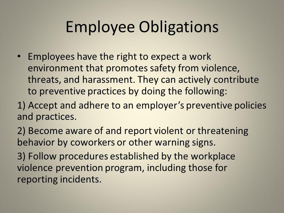 Employee Obligations
