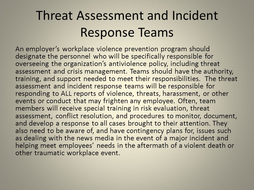 Threat Assessment and Incident Response Teams