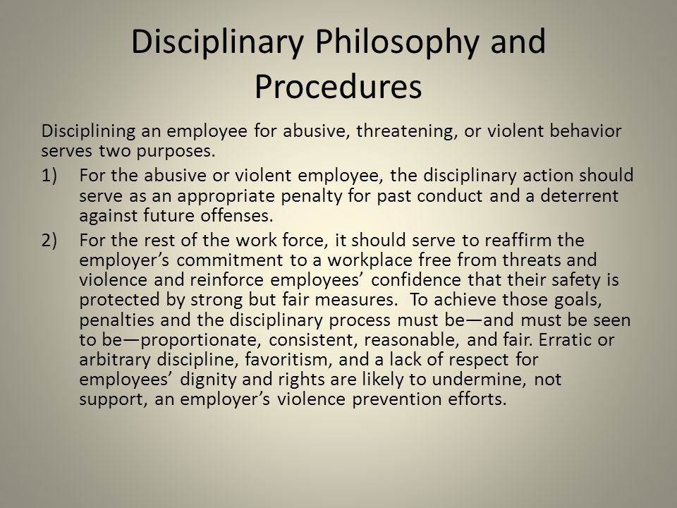 Disciplinary Philosophy and Procedures