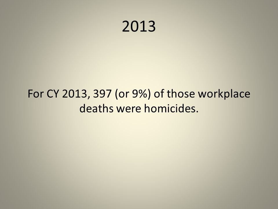 For CY 2013, 397 (or 9%) of those workplace deaths were homicides.