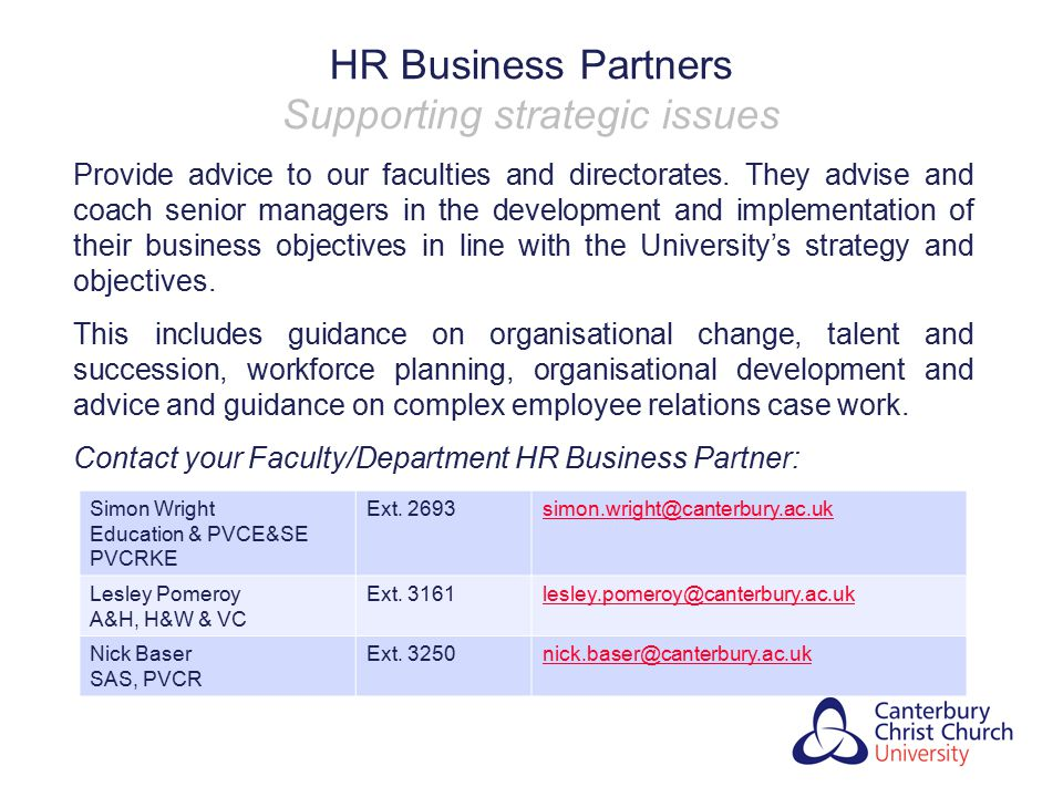 HR Business Partners Supporting strategic issues
