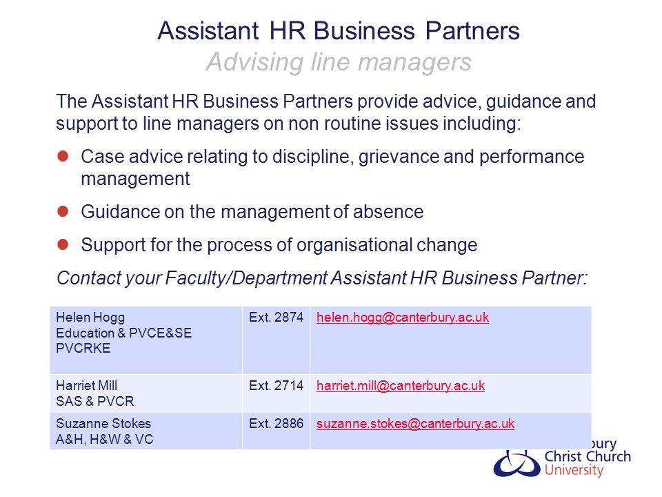 Assistant HR Business Partners Advising line managers
