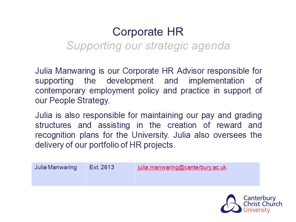Corporate HR Supporting our strategic agenda