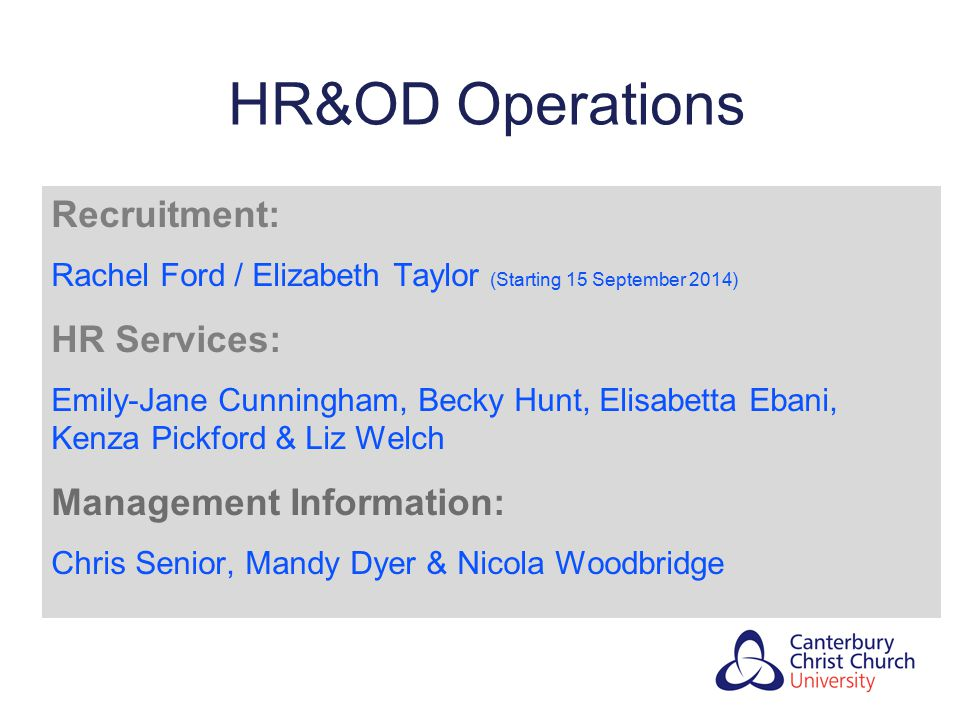 HR&OD Operations Recruitment: HR Services: Management Information: