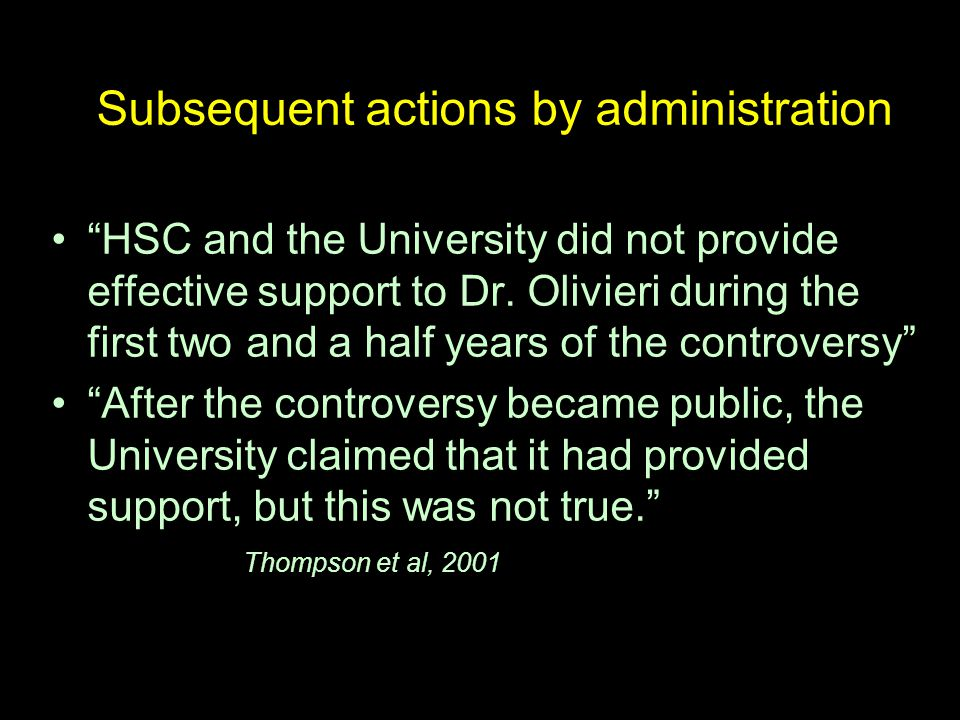 Subsequent actions by administration