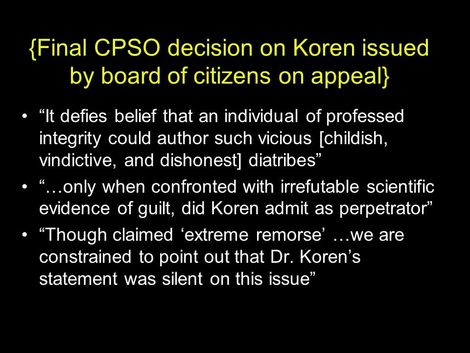 {Final CPSO decision on Koren issued by board of citizens on appeal}