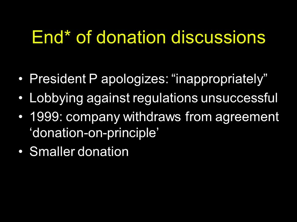 End* of donation discussions
