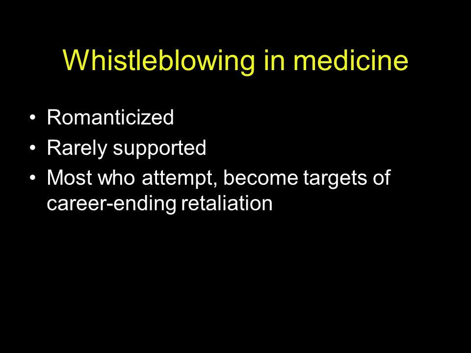 Whistleblowing in medicine