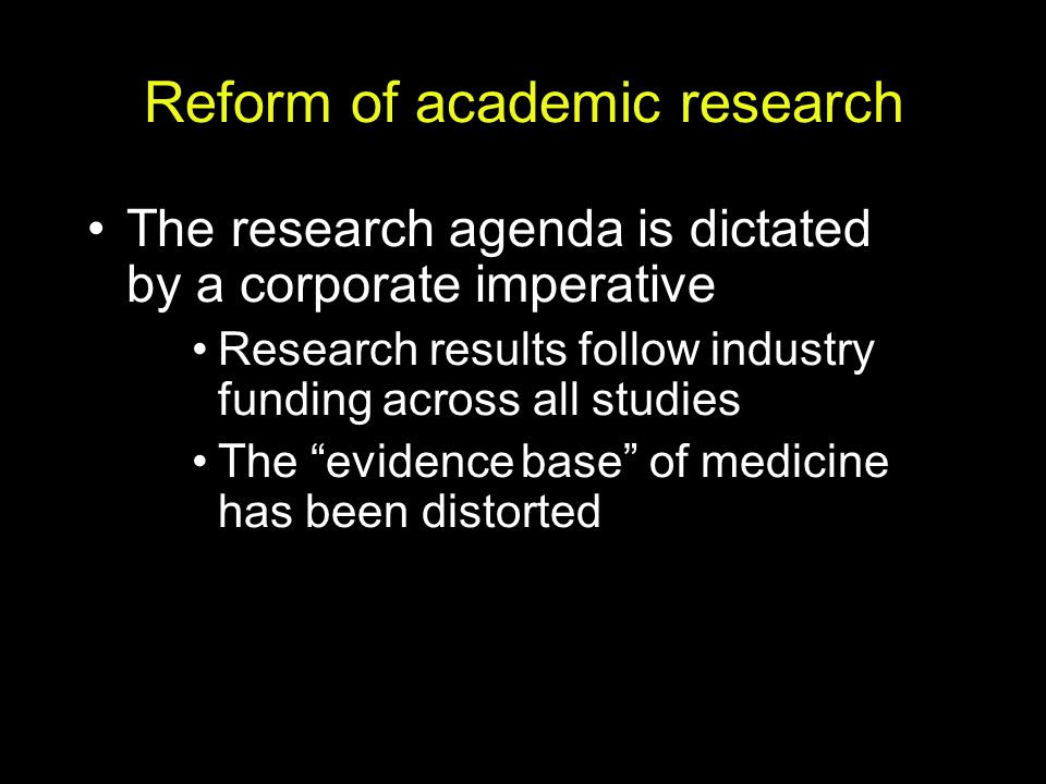 Reform of academic research
