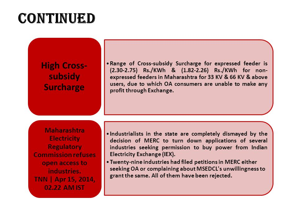 High Cross-subsidy Surcharge