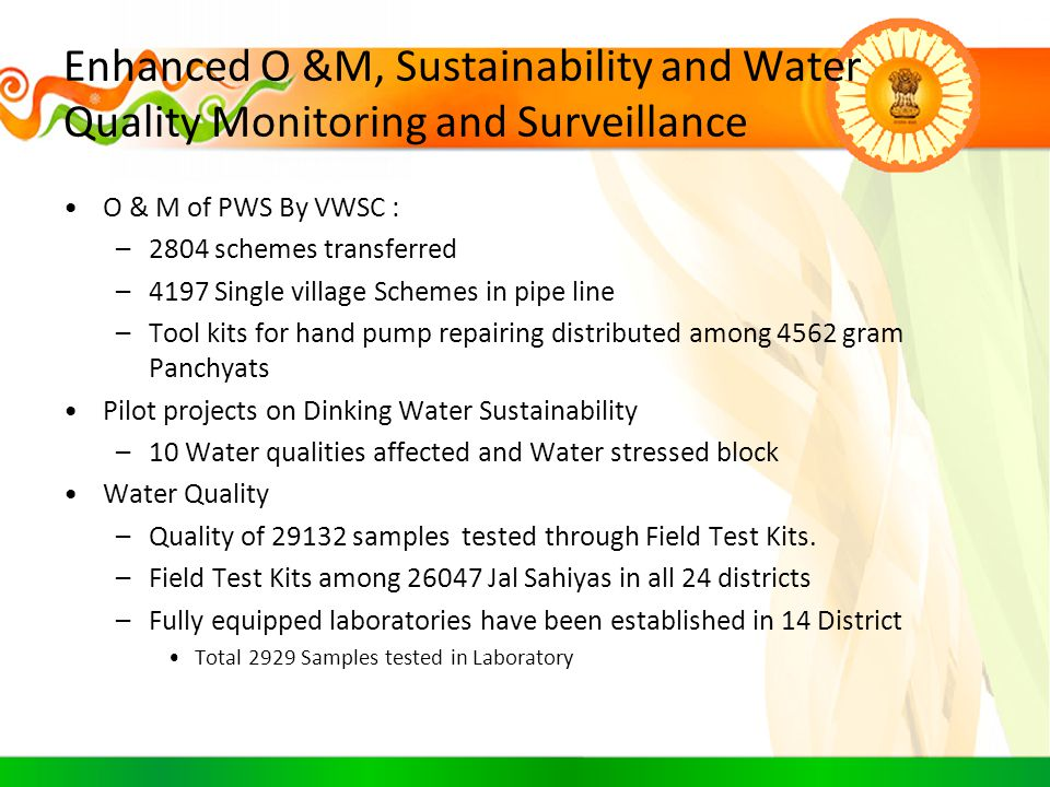 Enhanced O &M, Sustainability and Water Quality Monitoring and Surveillance