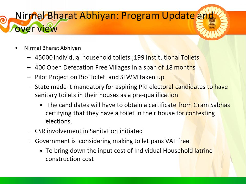 Nirmal Bharat Abhiyan: Program Update and over view