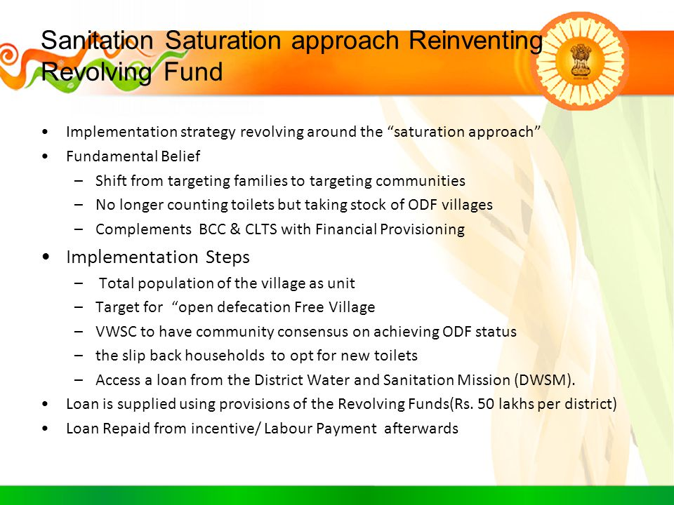 Sanitation Saturation approach Reinventing Revolving Fund