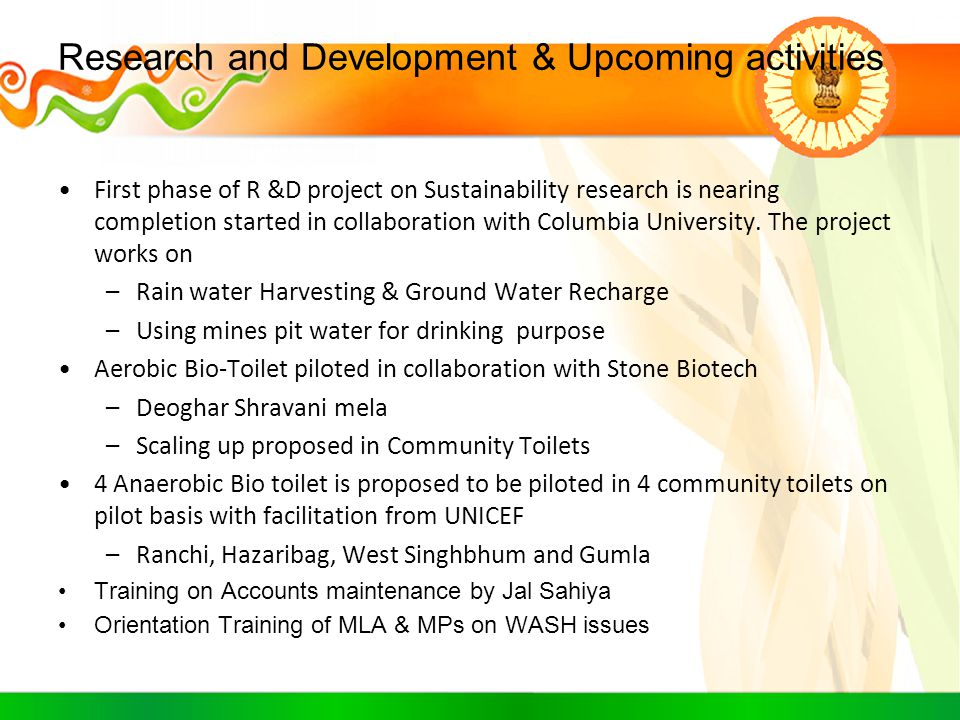 Research and Development & Upcoming activities
