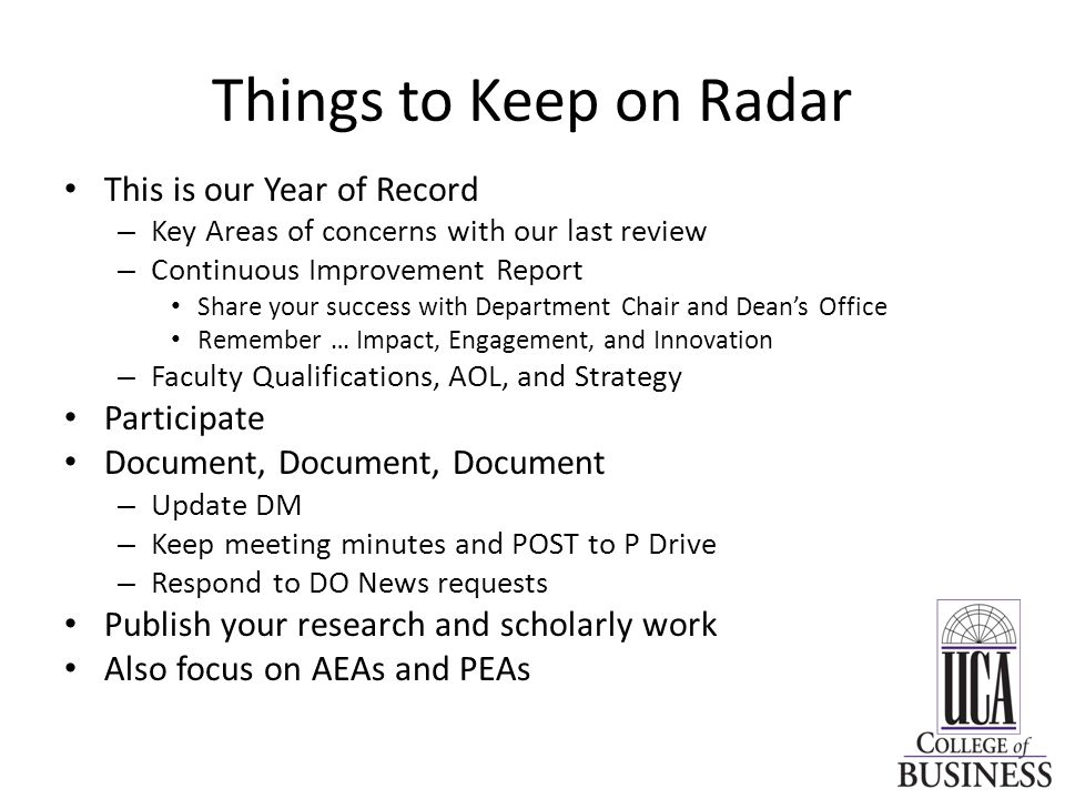 Things to Keep on Radar This is our Year of Record Participate