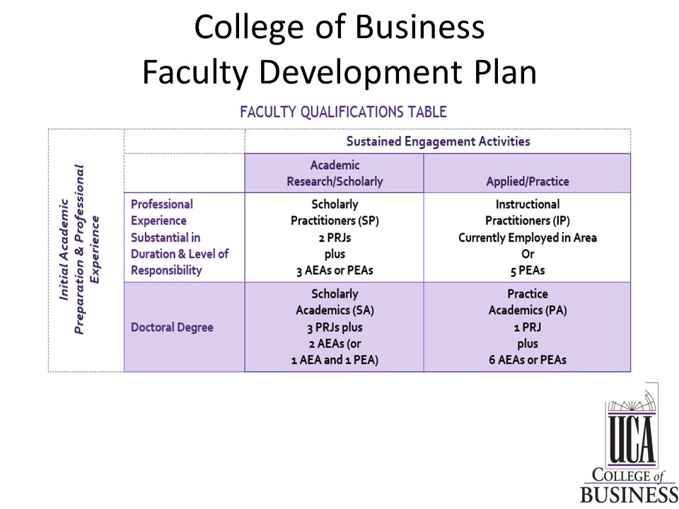 College of Business Faculty Development Plan