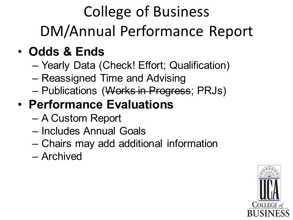 College of Business DM/Annual Performance Report