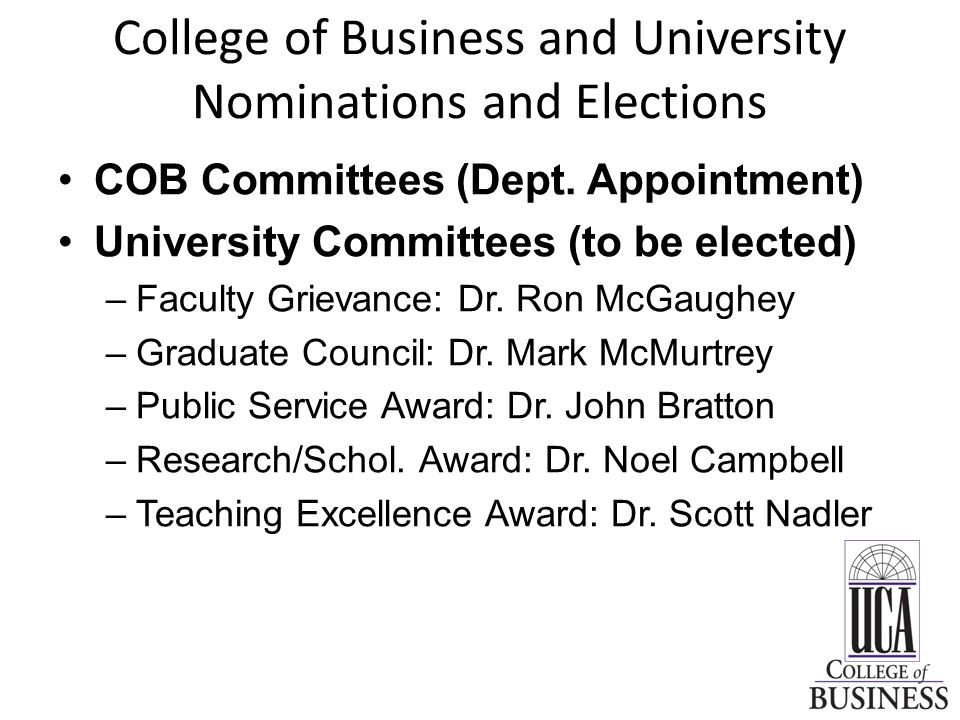 College of Business and University Nominations and Elections