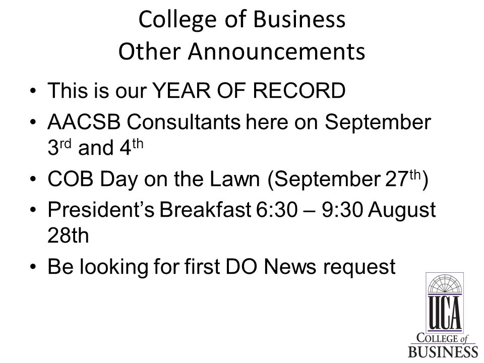 College of Business Other Announcements