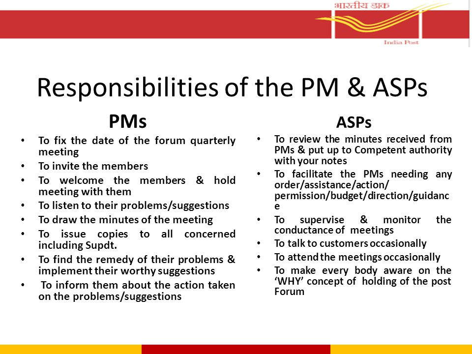 Responsibilities of the PM & ASPs