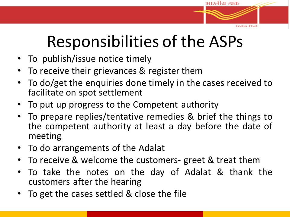 Responsibilities of the ASPs