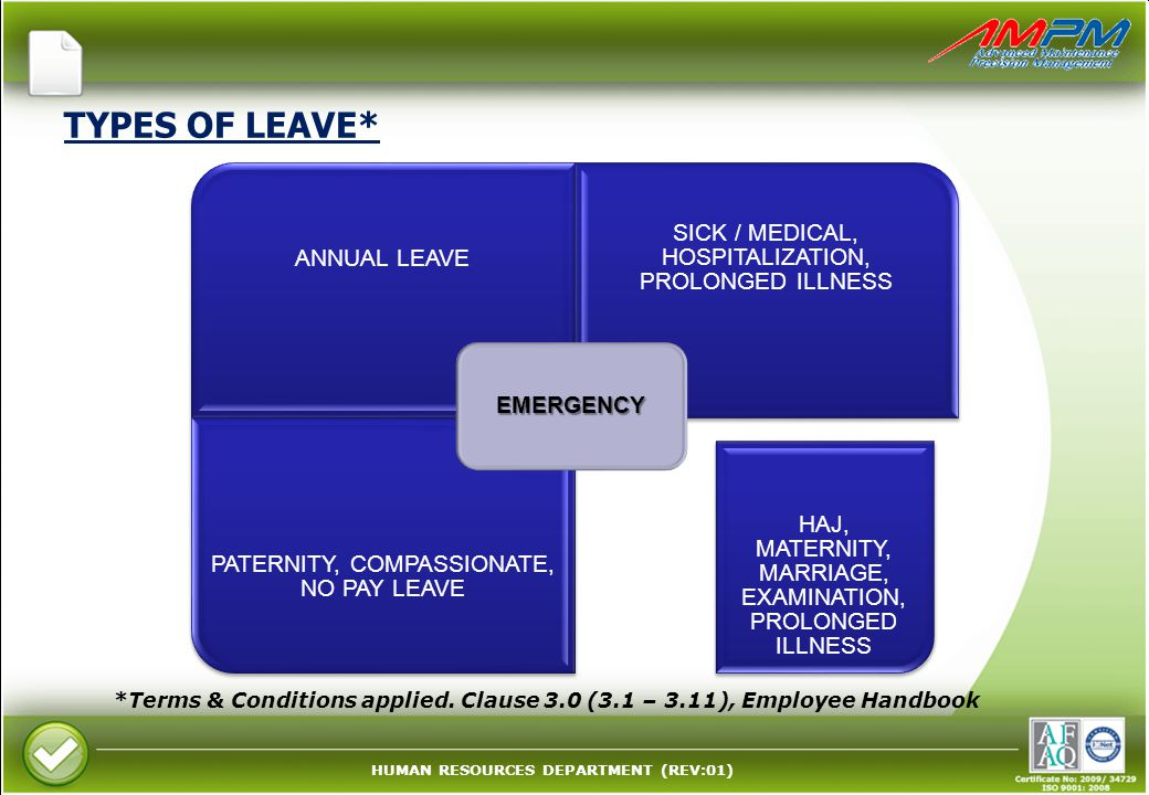 TYPES OF LEAVE* EMERGENCY. ANNUAL LEAVE. SICK / MEDICAL, HOSPITALIZATION, PROLONGED ILLNESS. PATERNITY, COMPASSIONATE, NO PAY LEAVE.