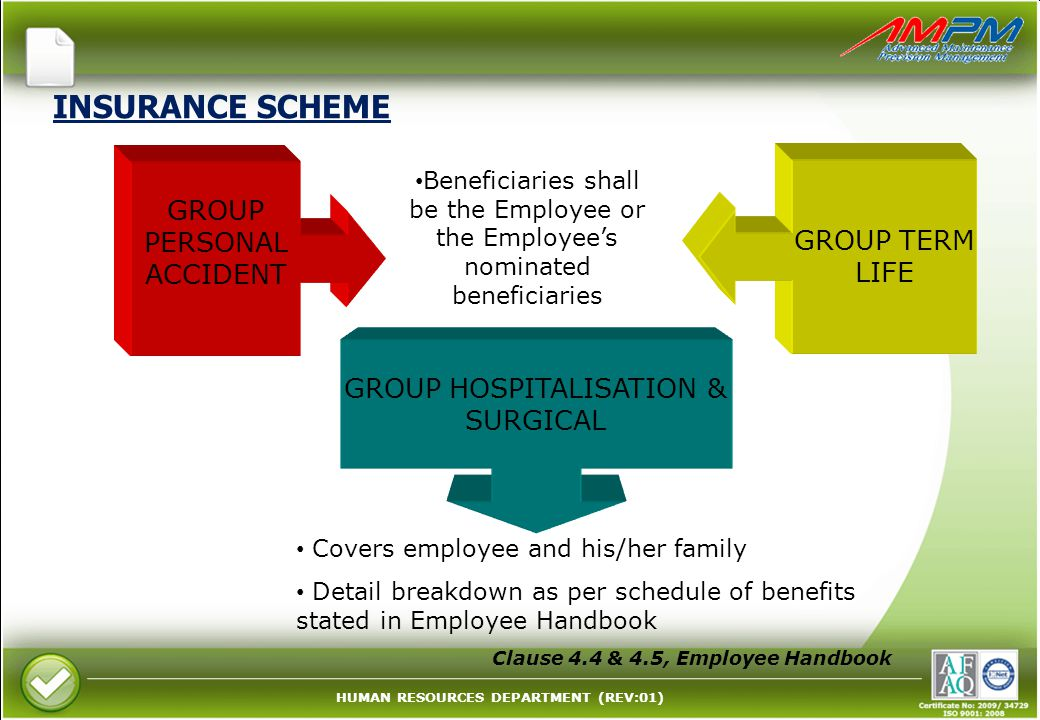 INSURANCE SCHEME GROUP PERSONAL ACCIDENT GROUP TERM LIFE
