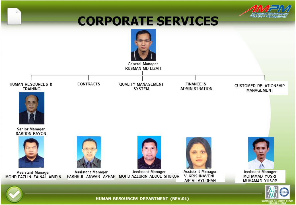 CORPORATE SERVICES General Manager RUSMAN MD LIZAH CONTRACTS