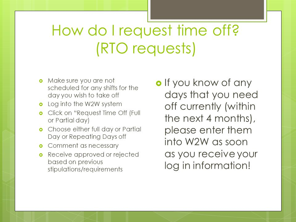How do I request time off (RTO requests)