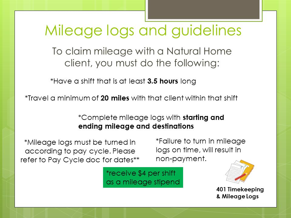 Mileage logs and guidelines