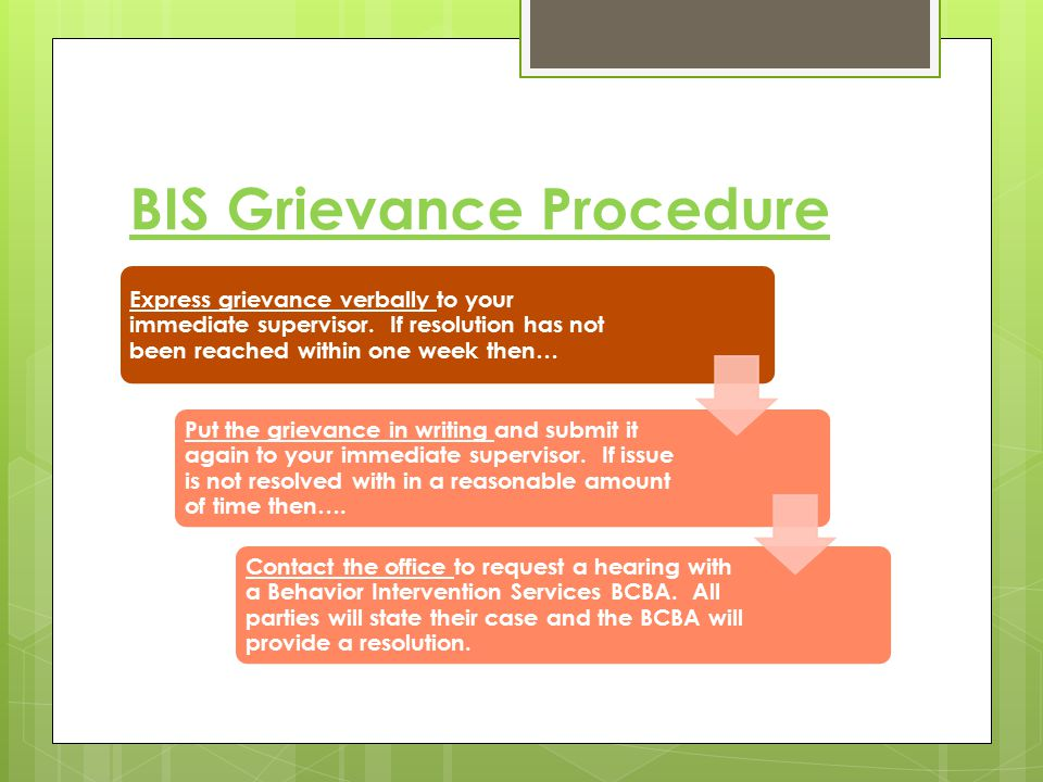 BIS Grievance Procedure