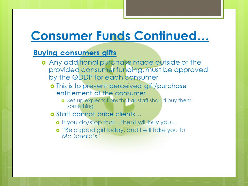 Consumer Funds Continued…