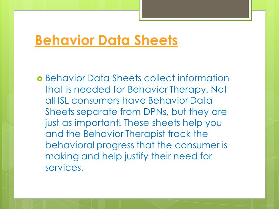 Behavior Data Sheets